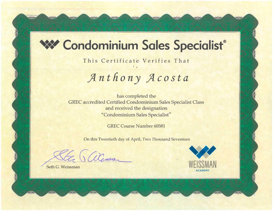 Anthony Acosta Earned The Condominium Sales Specialist Certification